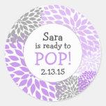 Ready to Pop Baby Shower Favor / purple dahlia mum Stickers