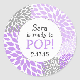 Ready to Pop Baby Shower Favor / purple dahlia mum Classic Round Sticker