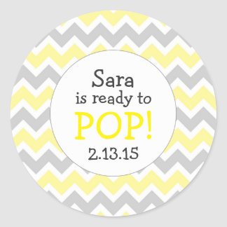 Ready to Pop Baby Shower Favor / yellow chevron Classic Round Sticker