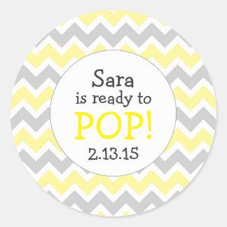 Ready to Pop Baby Shower Favor / yellow chevron Classic Round Sticker
