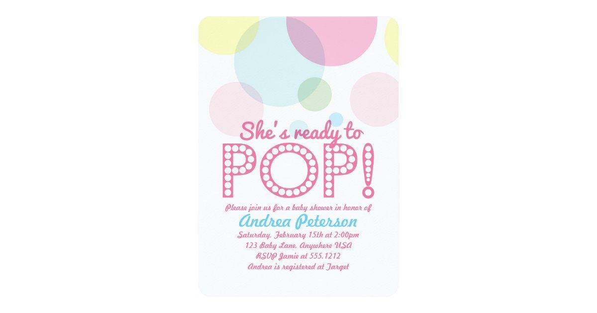 ready to pop baby shower invitation zazzle
