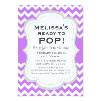 Ready to Pop Baby Shower Invitation, Chevron Card