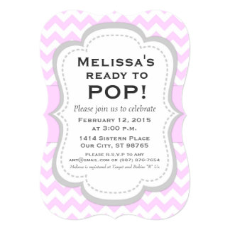 Ready to Pop Baby Shower Invitation, Pink Chevron Card