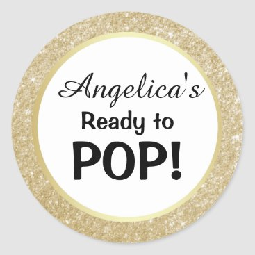 Toddler & Baby themed Ready to Pop Baby Shower White Gold Glitter Classic Round Sticker