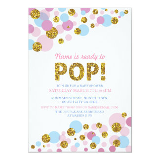 Ready To Pop Gender Reveal Baby Shower Gold Invite