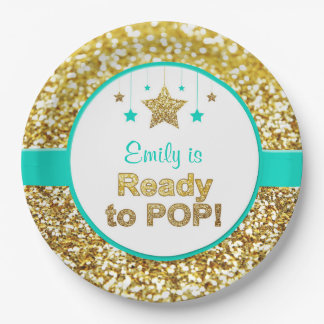 Ready to pop gold and mint baby shower plates