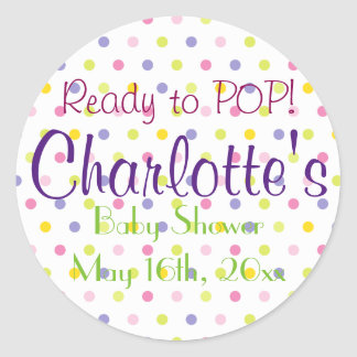Ready to POP! Pastel Polka Dot Baby Shower Classic Round Sticker