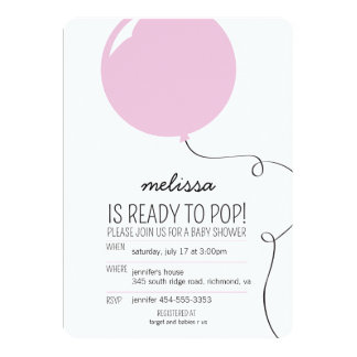 "Ready to Pop Pink Balloon Girl Baby Shower Invite 5"" X 7"" Invitation Card"