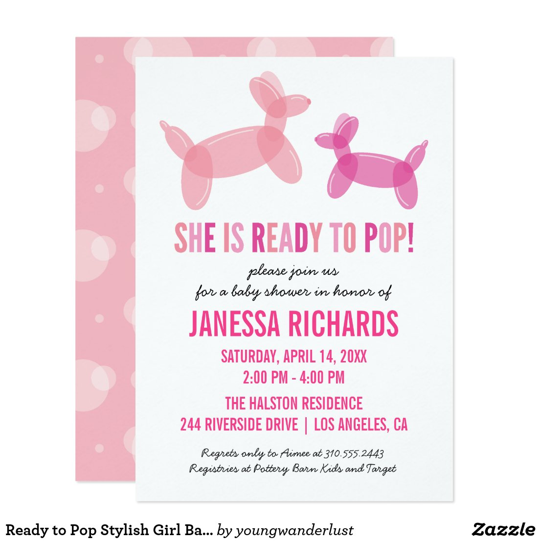 Ready to Pop Stylish Girl Baby Shower Invitations
