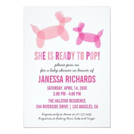 ready to pop stylish girl baby shower invitations zazzle