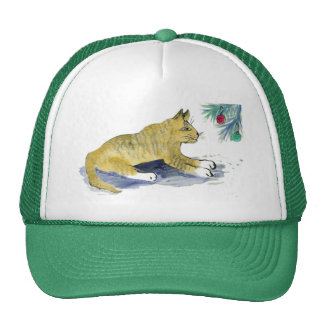 Ready to Pounce, Tiger Cat and Ornaments Trucker Hat
