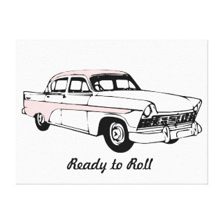 Ready to Roll Vintage Car Stretched Canvas Print