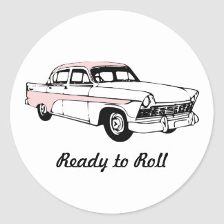 Ready to Roll Vintage Car Classic Round Sticker