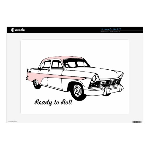 Ready to Roll Vintage Car Laptop Decal