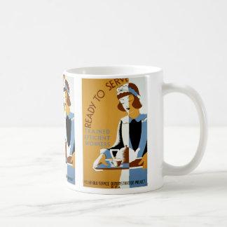 Ready to Serve Vintage WPA Poster Classic White Coffee Mug