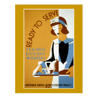 Ready to Serve Vintage WPA Poster Post Cards