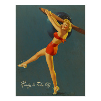 Ready ton of Take off PinUp Postcard