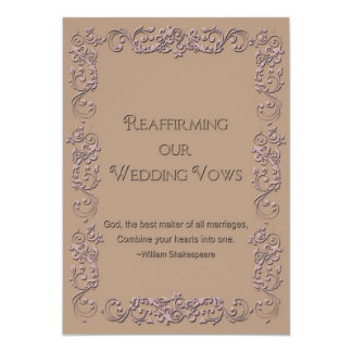"""Reaffirmation of Vows - Beige - Rose Faux Embossed 5"""" X 7"""" Invitation Card"""