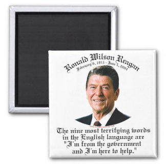Reagan 9 Terrifying Words 2 Inch Square Magnet