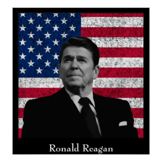 Reagan and The American Flag Poster