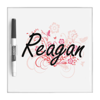 Reagan Artistic Name Design with Flowers Dry Erase Whiteboards