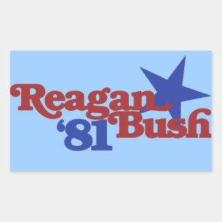 Reagan Bush 1981 Rectangular Sticker