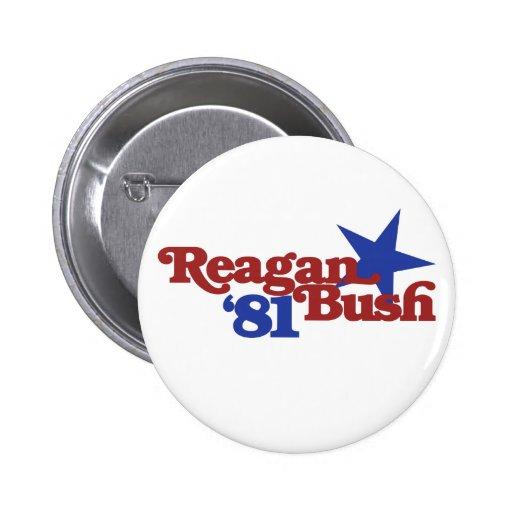 Reagan Bush 81 Pinback Button