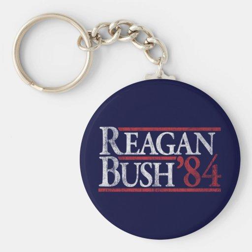 Reagan Bush 84 1984 campañas retras del vintage Llavero