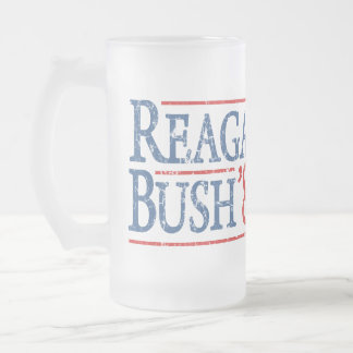 Reagan Bush 84 Retro Election Frosted Glass Beer Mug