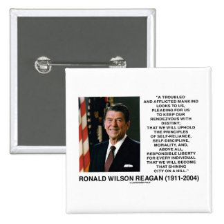 Reagan Destiny Principles Shining City On A Hill Pinback Buttons