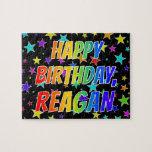 "[ Thumbnail: ""Reagan"" First Name, Fun ""Happy Birthday"" Jigsaw Puzzle ]"