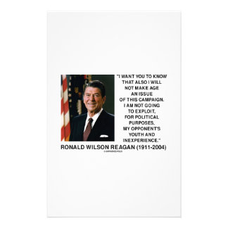 Reagan Not Make Age An Issue Campaign Youth Quote Stationery