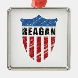 Reagan Patriot Shield Square Metal Christmas Ornament