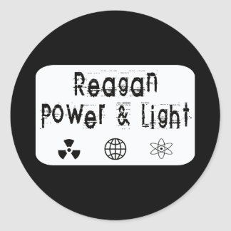 Reagan Power and Light, White Classic Round Sticker
