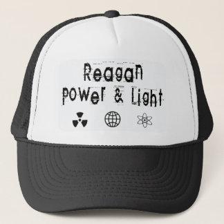 Reagan Power and Light, White Trucker Hat
