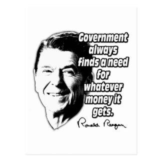 Reagan Quote Government Money Postcard