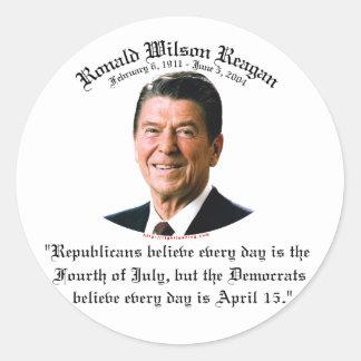 Reagan Republicans vs Democrats Classic Round Sticker
