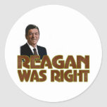 Reagan Was Right Round Stickers