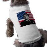 Reagan y la bandera americana camiseta de perrito