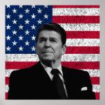 Reagan y la bandera americana impresiones