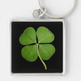 Real 4 Leaf Clover Shamrock Black Keychain