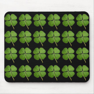 Real 4 Leaf Clover Shamrocks Black Mouse Pad