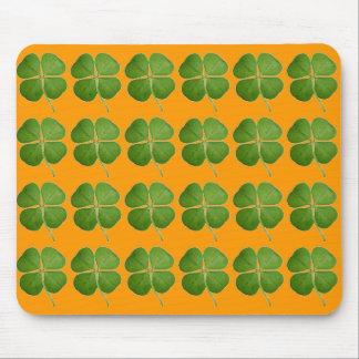 Real 4 Leaf Clover Shamrocks Orange Mouse Pad