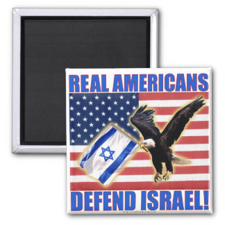 Real Americans Defend Israel 2 Inch Square Magnet