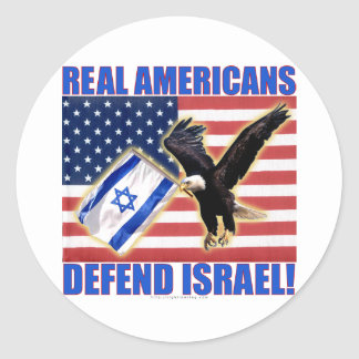 Real Americans Defend Israel Classic Round Sticker