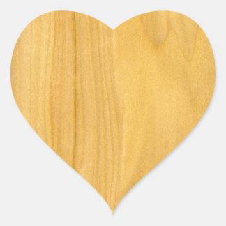 Real Aspen Veneer Woodgrain Heart Sticker