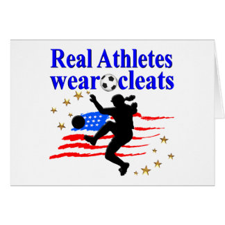 REAL ATHLETES WEAR CLEATS SOCCER DESIGN CARD