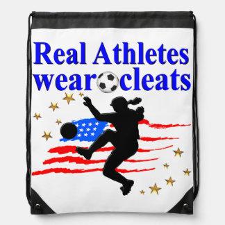REAL ATHLETES WEAR CLEATS SOCCER DESIGN DRAWSTRING BAG