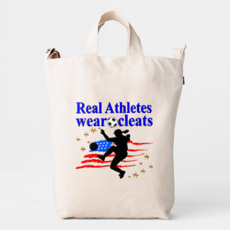 REAL ATHLETES WEAR CLEATS SOCCER DESIGN DUCK BAG