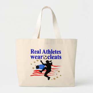 REAL ATHLETES WEAR CLEATS SOCCER DESIGN LARGE TOTE BAG